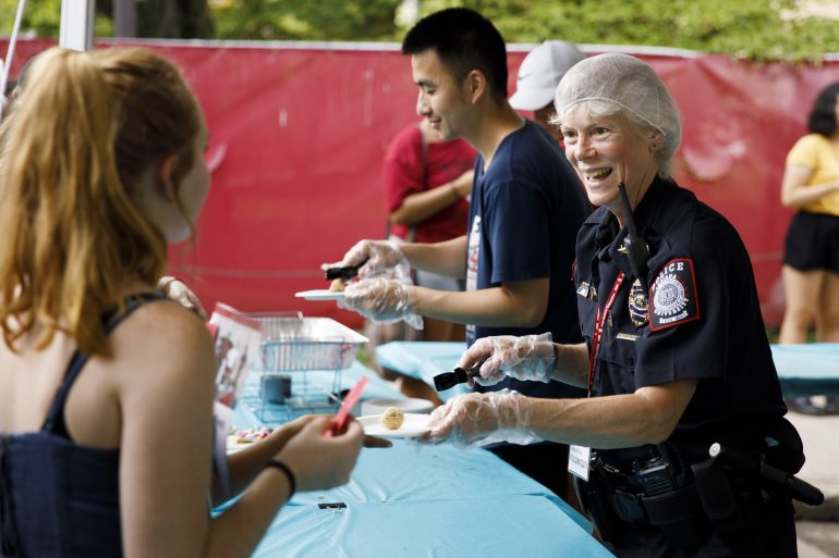 Police serving food
