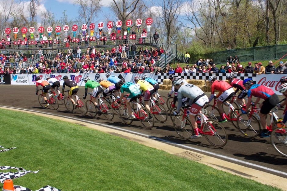 Little 500 cyclists during the race