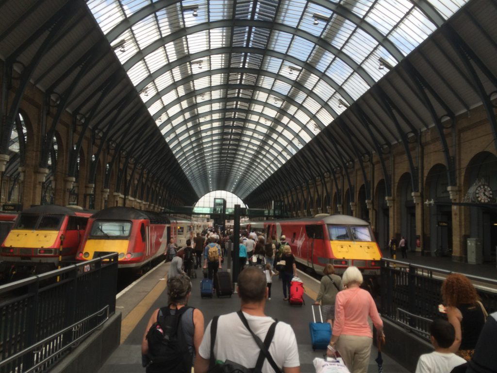 Taking a train at King's Cross station