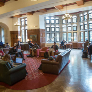 Students sit in IMU