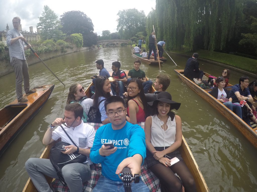 Going on a punting tour around the campus of the world renowned Cambridge University