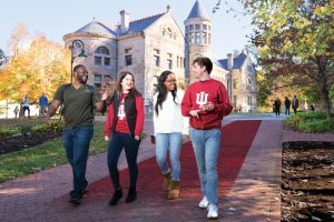 IU promo photo of students walking on campus
