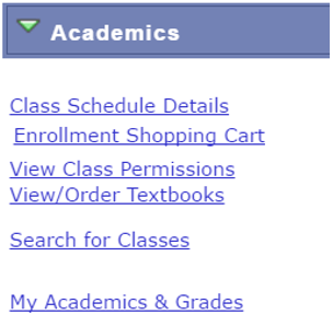Student center academics page