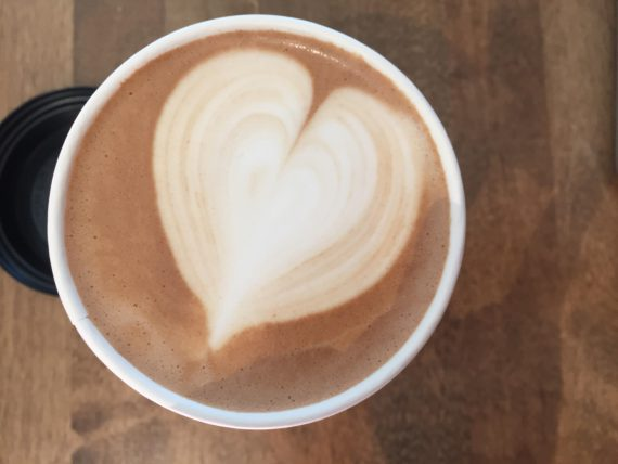 Coffee with a heart shape on top