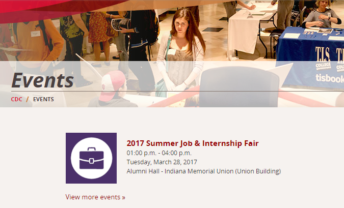 Career events page