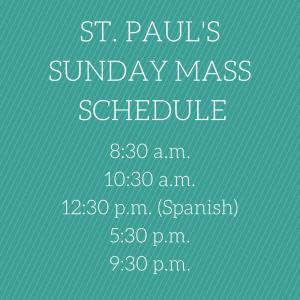 St Pauls church schedule