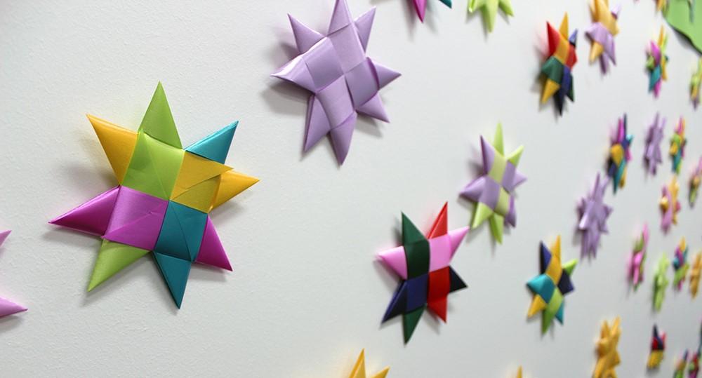 Paper stars on a wall