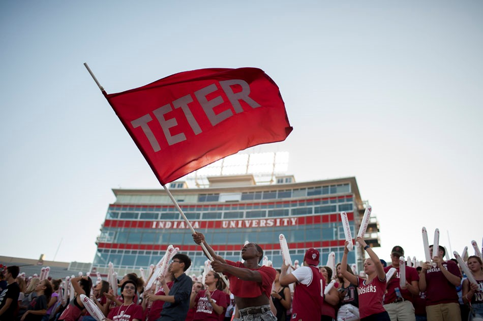 Teter flag at IU football game