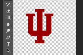 IU Logo being designed in Photoshop