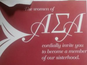 An invitation to a sorority