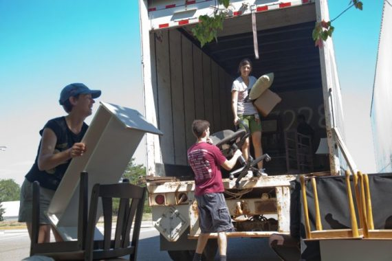 IU family loads a moving truck