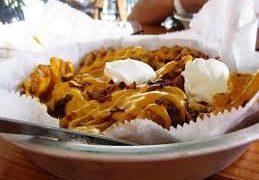 A basket of waffle fries