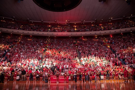 Inside Assembly Hall at a basketball game