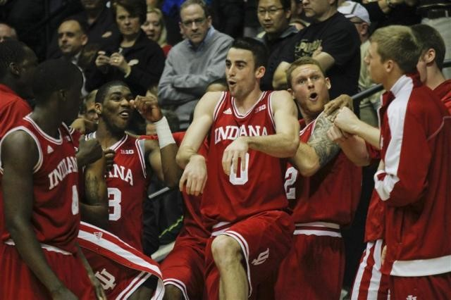 IU Basketball players celebrating