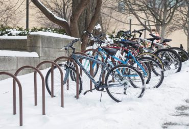Bikes parked in the snow