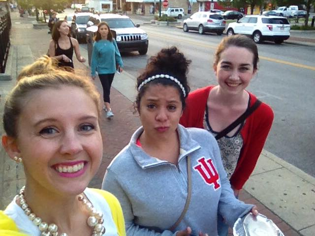 Friends exploring downtown Bloomington