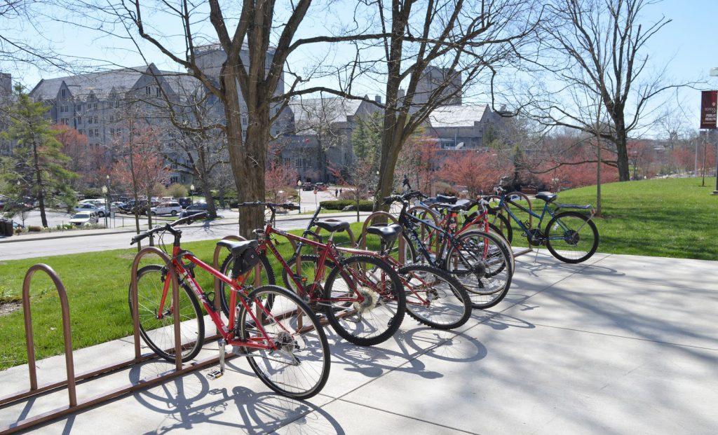 bikes in a bike rack