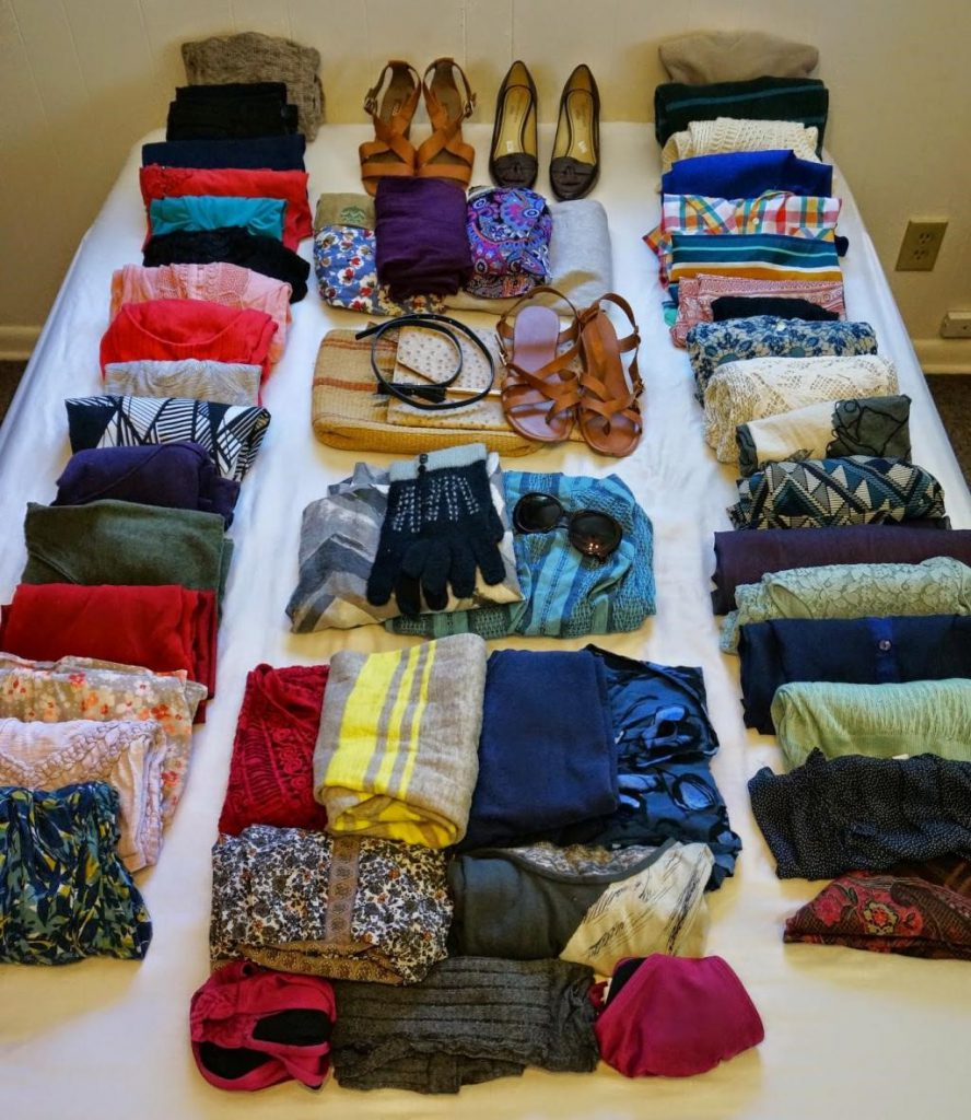 Organized clothes on a bed