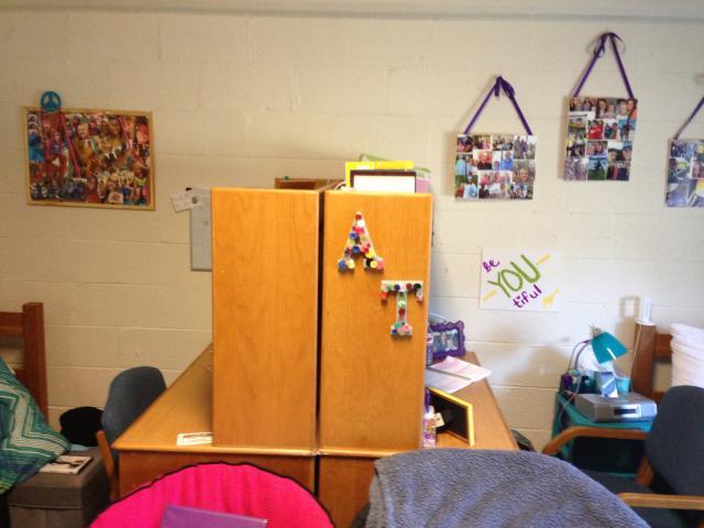 Desk sitting back to back in a dorm