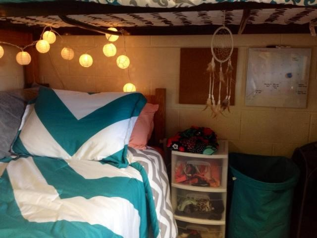 A bed in a dorm room