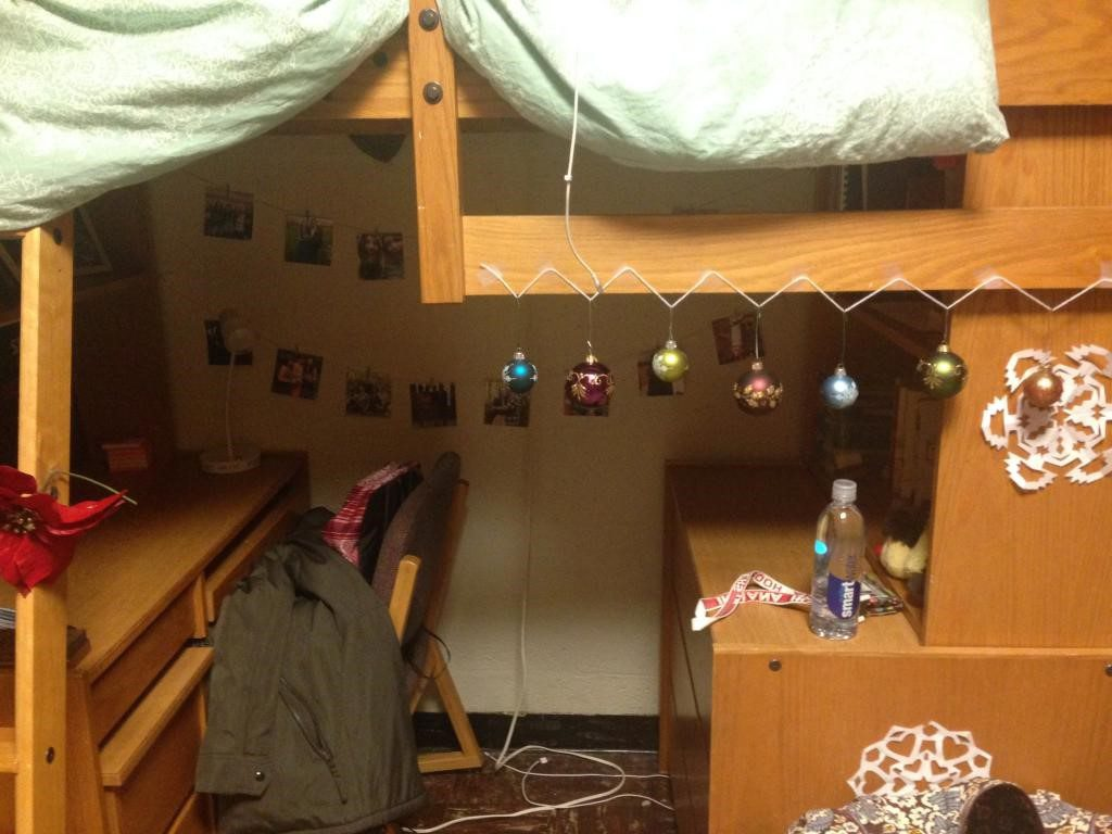 And here is a Christmas-y example of what the closets, overhead storage space and lofted beds look like.