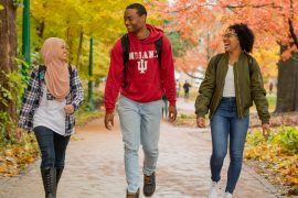 Students walk through IU