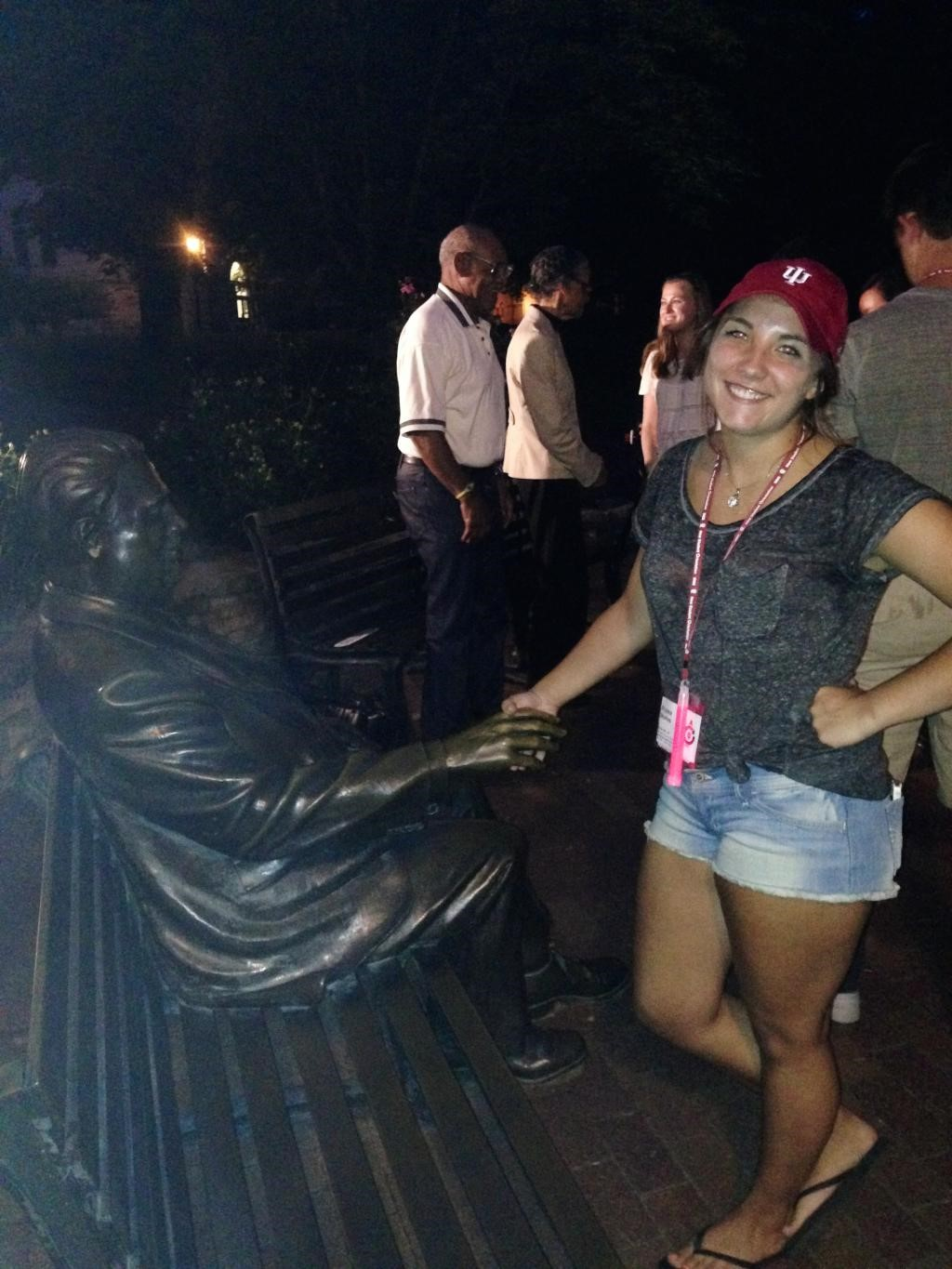 Me shaking Herman B. Wells' hand (part of the night tour),an IU tradition that is said to bring good luck!