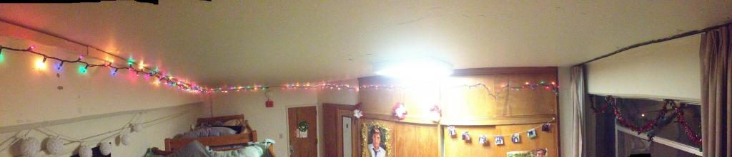 Christmas lights in a dorm room