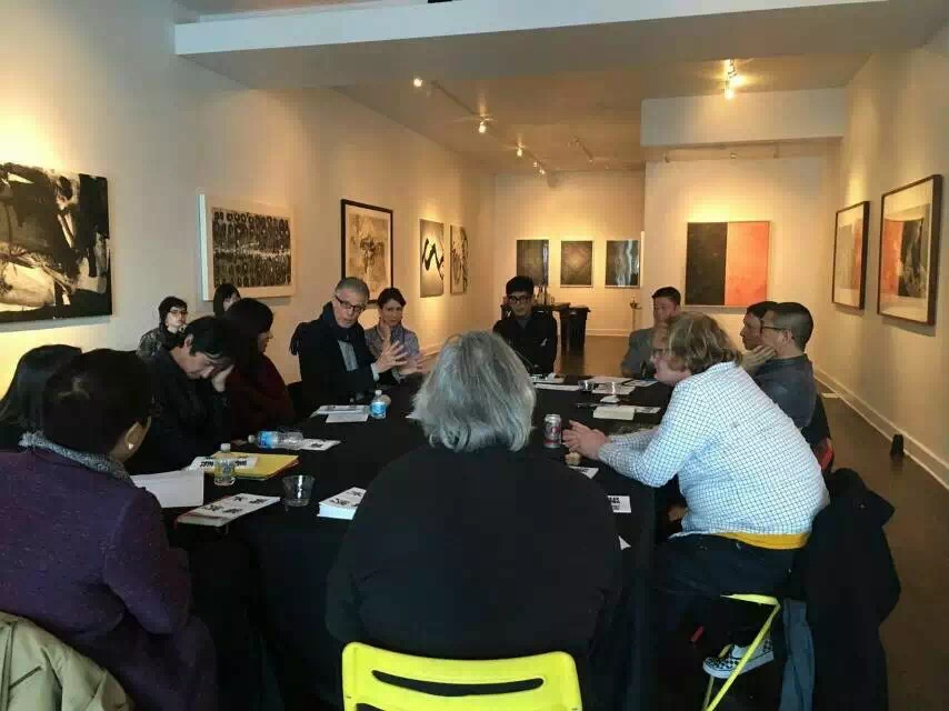 Artist and scholars sit together and discuss the potential of contemporary ink art