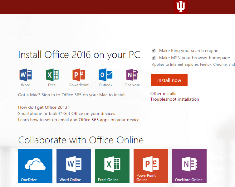 Installing office through IU