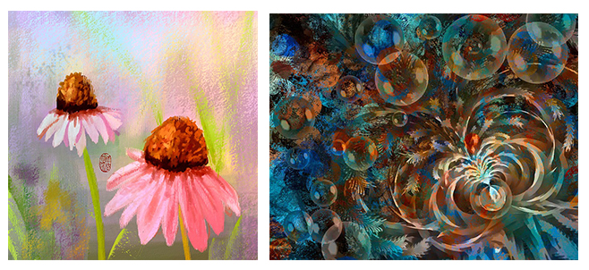 Paintings of flower and abstract image