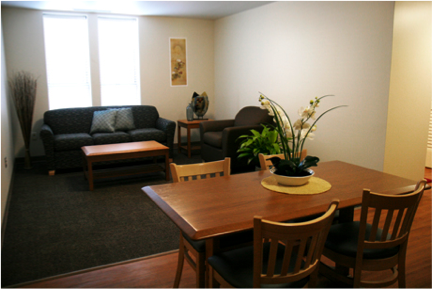 A living room in a dorm