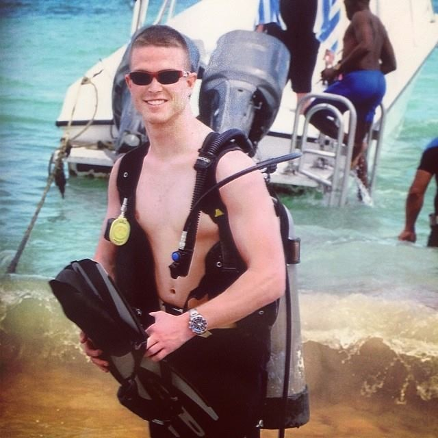 A guy getting ready to go snorkling
