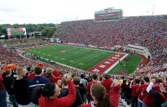 A football game at Memorial Stadium