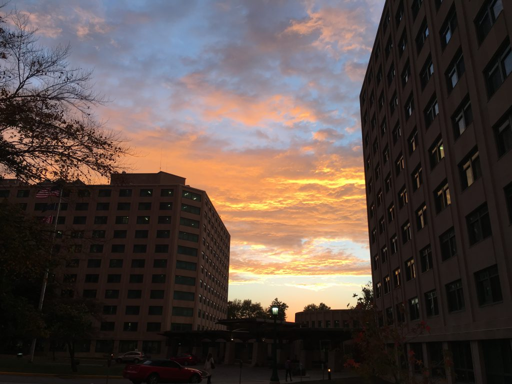IUs campus at sunset