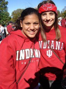 Two girls in IU sweatshirts