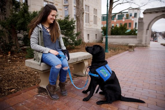 girl with service dog